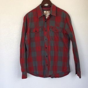 Men's OP plaid grey/red long sleeve button front
